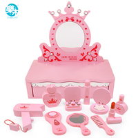 Logwood Wooden toys Beauty & Fashion Toys Children's dressing table pink princess real life cosplay girls toy gift for children