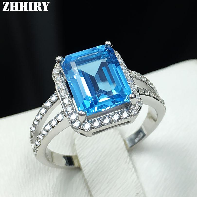 Natuurlijke blauwe topaas edelsteen ring echte solide 925 sterling - Fijne sieraden
