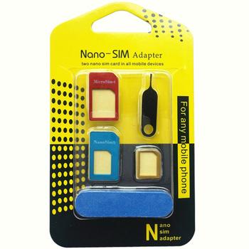 Snowkids karty SIM Adapter 5 w 1 Nano Micro SIM adaptery standardowe karty SIM adaptery wysuń Pin dla wszystkich telefonów tanie i dobre opinie Dwóch kart sim akcesoria garnitur JK-008