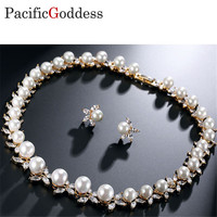 pacificgoddess Wedding Bride earrings and Necklace Jewel brilliant Jewellery amazing jewelry set pearl