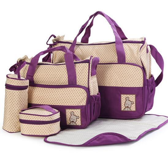 NAPPY BAG AT 7 Colors 5PCS/Set High Quality Tote Baby Shoulder Diaper Bags Durable Nappy Bag Mummy Mother Baby Bag