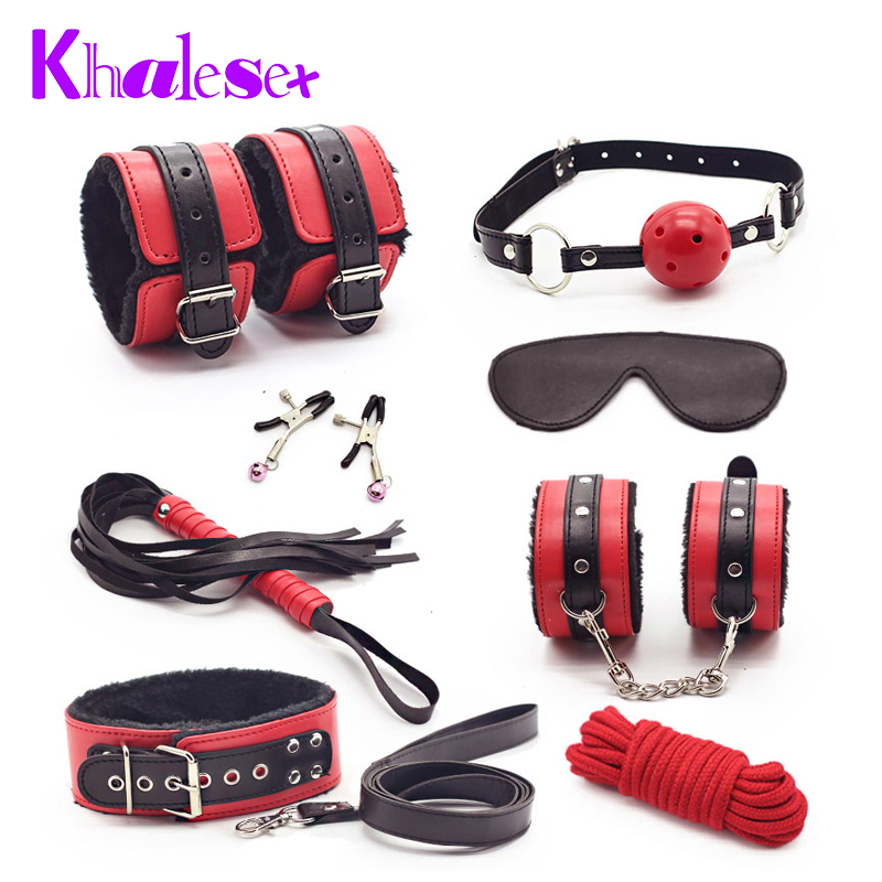 Sexy 8 Pcs/Set Kit Fetish Leather Sex Bondage Red Sex Toys for Couples,Nipple Clamps Foot Handcuff Ball Gag Whip Collar Eye Mask