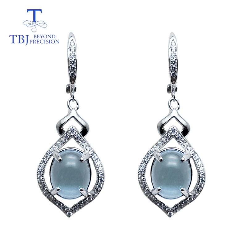 TBJ Natural Sky blue topaz oval 8 10mm petaling style good Earrings Pure 925 Sterling Silver