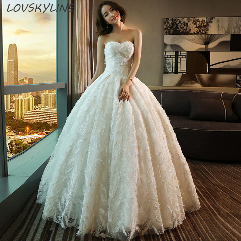 New Wedding Dress Ball Gown Sweetheart Floor length Lace Embroidery Lace up Back Bohemian Wedding Dresses