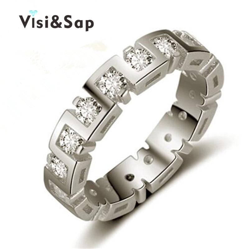 a20b43287af1 Visisap oro blanco color Anillos punk bandas cubic zirconia Anillos para  hombres mujeres boda compromiso joyería VSR246