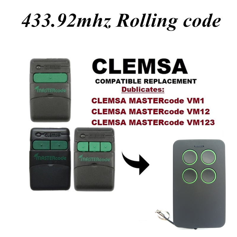 43392:  Universal remote control gate 433.92 mhz Clone Clemsa Mastercode MV1 FOB wih Grage gates - Martin's & Co