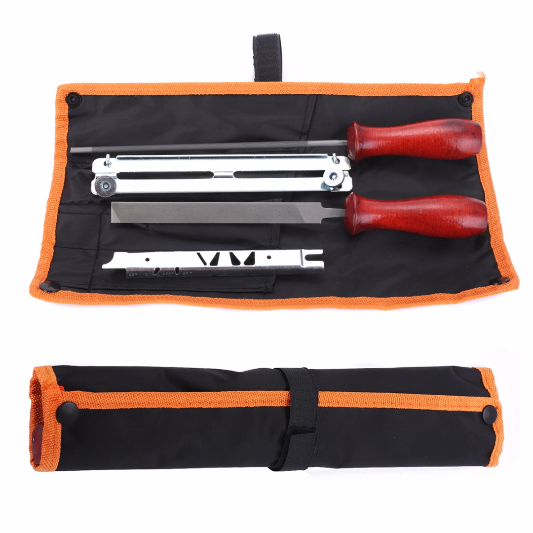 High Quality 5pcs/set Chainsaw Sharpening Filing Kit 5.2mm File Fit for 3/8 Pro Chain With Pouch Mayitr Hot Selling chainsaw piston assy with rings needle bearing fit partner 350 craftsman poulan sm4018 220 260 pp220 husqvarna replacement parts