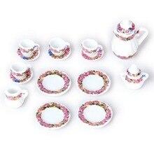 15pcs Dining Ware Porcelain Tea Set Dish Cup Plate Colorful Floral Print Dollhouse Miniature Hot Sale
