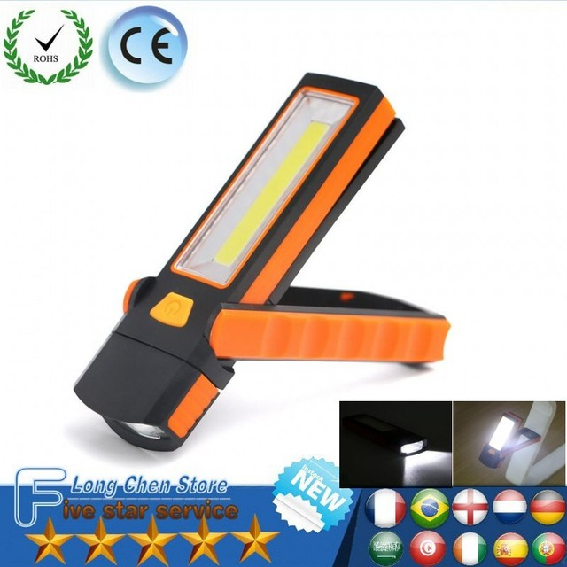 COB LED Flashlight Super Bright Adjustable Work Light Inspection Lamp Hand  Torch Magnetic Camping Tent Lantern