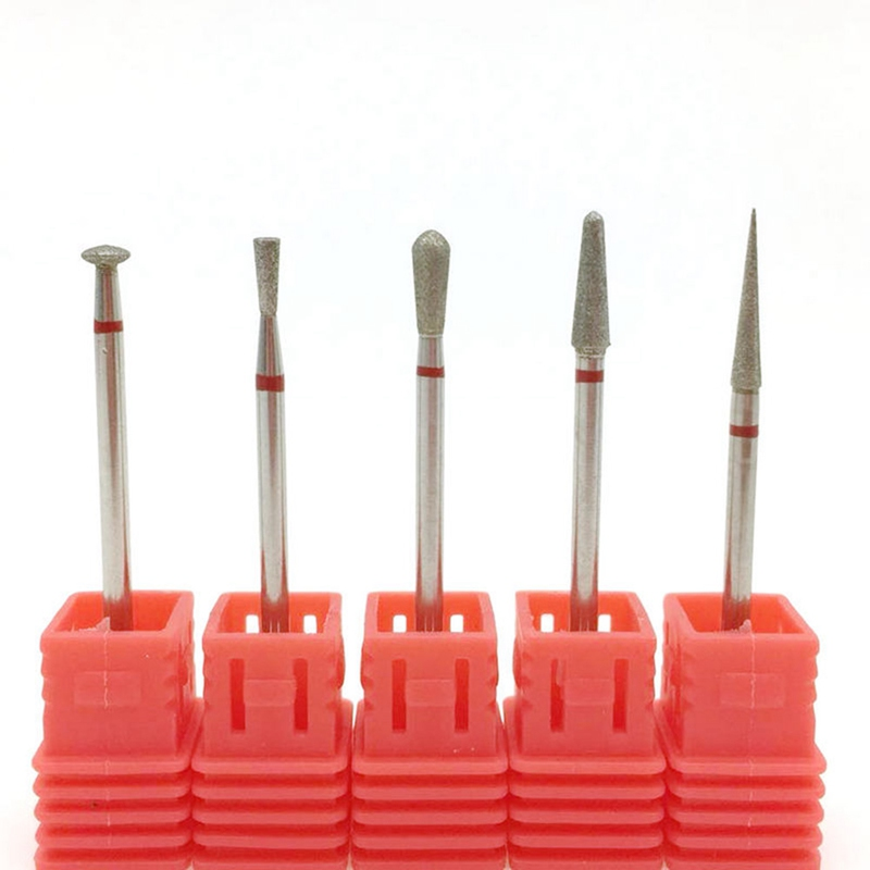 5 Type Red Diamond Nail File Bit Burr Milling Cutter Manicure Electric Nail Drill Nail Accessories