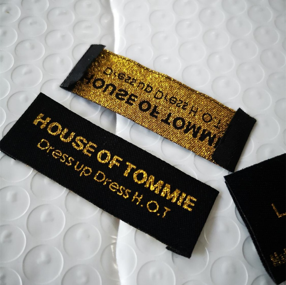 custom color sew garment clothing tags Woven Labels embroid clothing labels Non fading main label brand