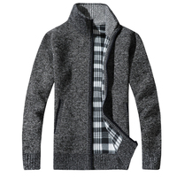 Модные Для мужчин свитера шерстяной кардиган свитер Длинные рукава тонкий сплошной Для мужчин толстые Стенд воротник пуловеры мужские сви
