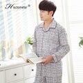 2017-Spring and Autumn Men's classic plaid cardigan pajamas suit long-sleeved pants cotton pajamas pajamas suit R202