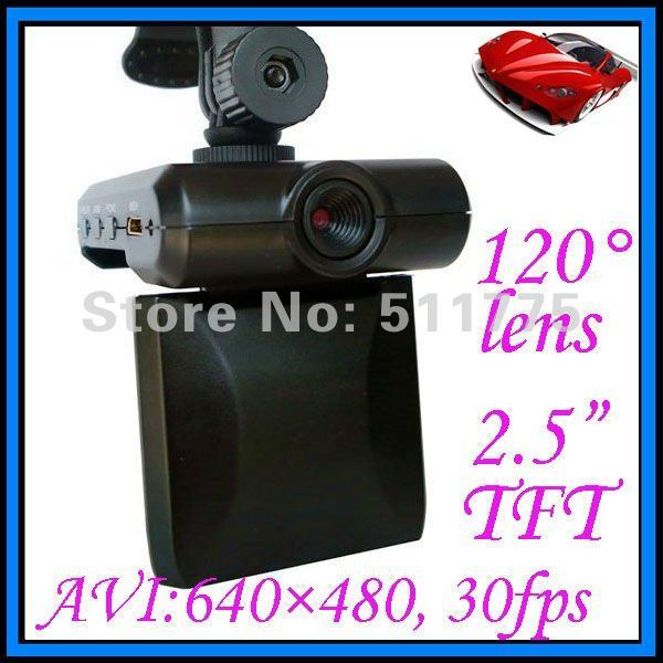 Car camera DVR record, 120 degree lesn, 2.5 Inch TFT LCD, AVI, remote control, date/time setting, SD card, PycckNN language H185