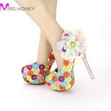 Colorful Lace Floral High Heels Beautiful Formal Dress Shoes Thin Heel Wedding Bridal Shoes Appliqued Dinner Party Prom Pumps