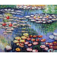 Decoration oil painting Water Lilies (pink) Claude Monet Classic landscape art canvas wall pictures for living room