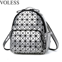 Women Backpack Feminine Geometric Plaid Sequin Female Backpacks For Teenage Girls Bagpack Travel Bags Holographic Mini