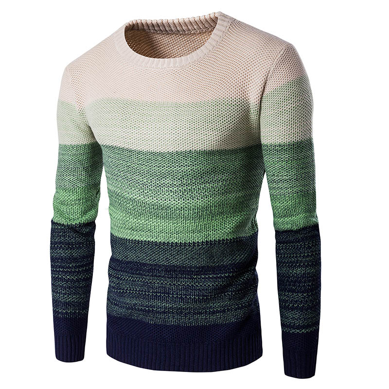 Winter Casual Sweater O-Neck Striped Slim Fit Men Long Sleeve Patchwork 2018 Male Pollover Sweater Thin Clothes Agasalho Masc