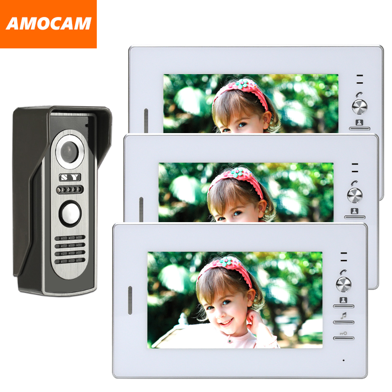 7 Inch Monitor video Door Phone Doorbell system wired Video intercom night vision Aluminium alloy Camera Video doorbell 3-screen