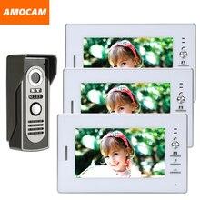 7 Inch Monitor video Door Phone Doorbell system wired Video intercom night vision Aluminium alloy Camera Video doorbell 3-screen