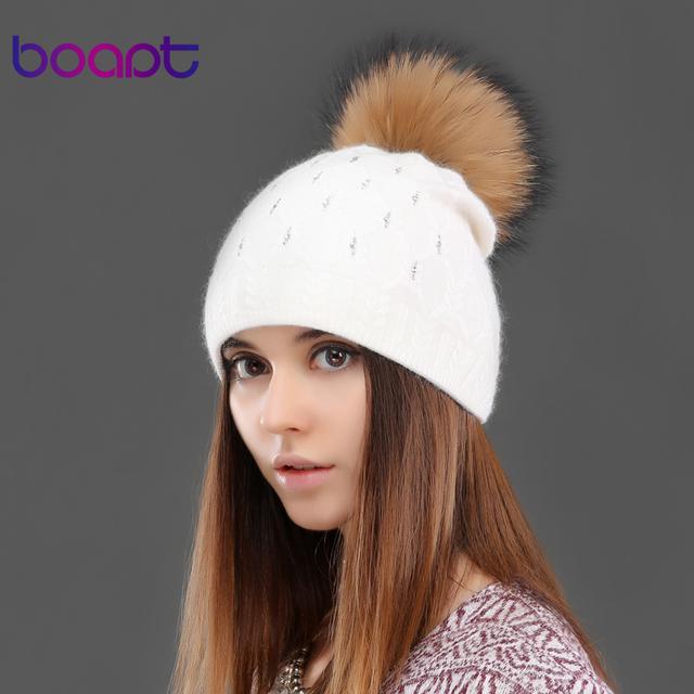 BOAPT knited coelho double-deck quente cristal de diamante chapéu para mulheres feminino tampão do inverno chapéus de pele de guaxinim genuíno gorros pom pom