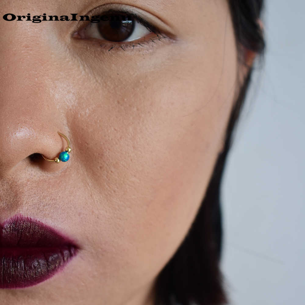 925 Silver Nose Ring Real Piercing Jewelry Gold Filled Nose Ring Handmade Piercing 10mm Hoop Tiny Blue Opal Real Piercing Hoops Aliexpress