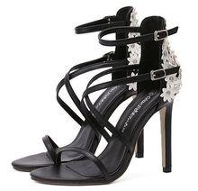 Size 4 9 Summer Black font b Women b font Shoes 11cm White Flower High Heels
