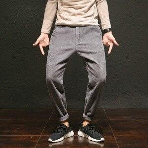 Image 3 - מזדמן בתוספת גודל שחור יין אפור קורדרוי מכנסיים לגברים כותנה Loose בבאגי הרמון מכנסיים גדול צד כיסי ירך הופ pantalon Homme