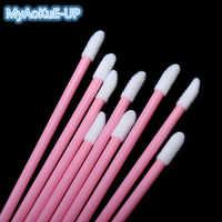 Pink Handle Mini Lip Brush 200 Pcs Disposable  Lipstick Gloss Brush Wands Applicator Makeup Beauty Tools
