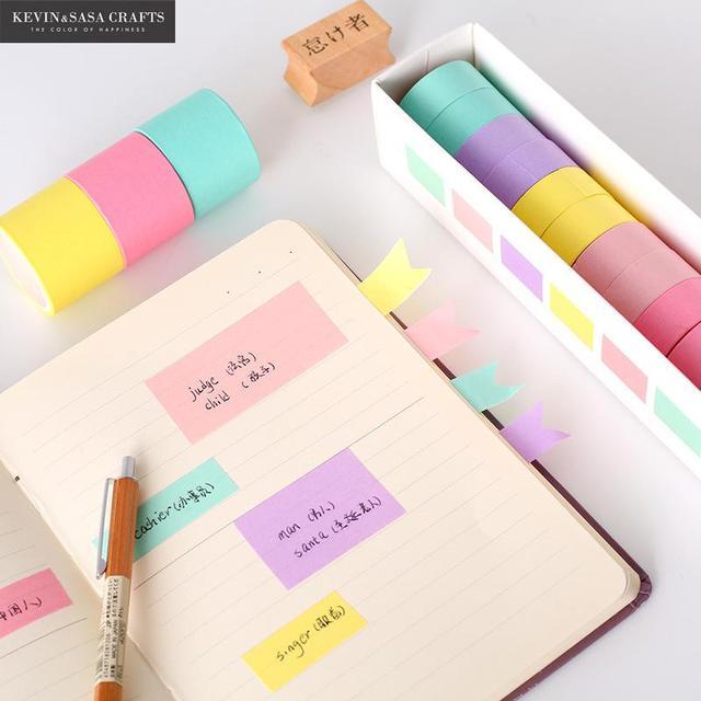 1 ensemble couleur unie Washi ruban qualité papeterie bricolage Scrapbooking Album Photo outils scolaires Kawaii Scrapbook papier autocollants cadeau