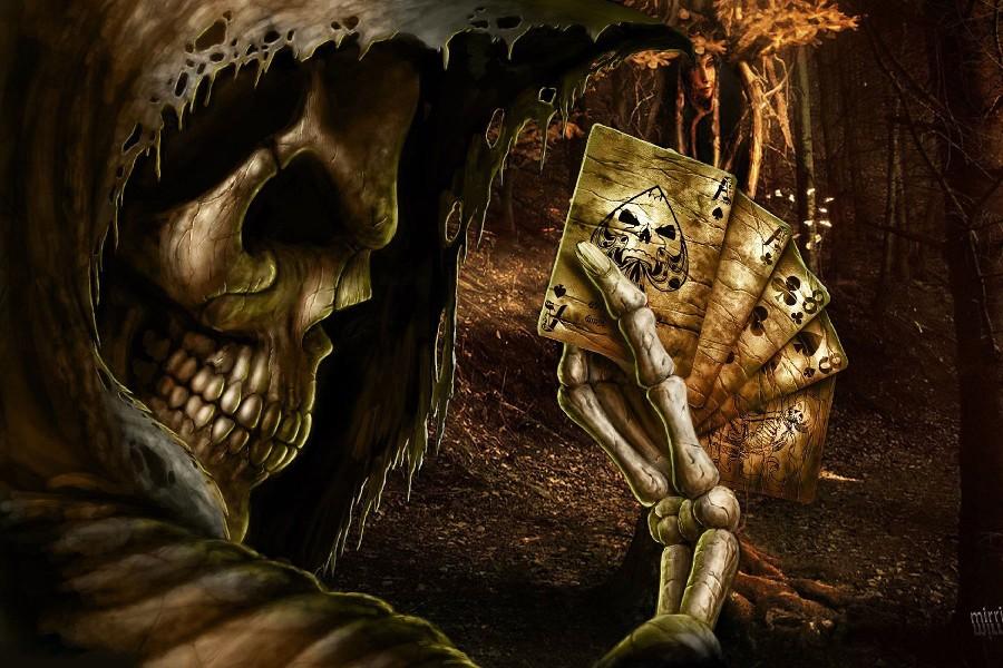 Dark grim reaper horror skeletons skull creepy cards games - Scary skeleton games ...