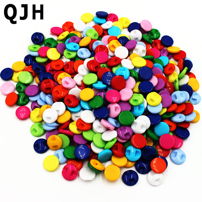 100pcs 12mm Mixed Color Plum Flower Resin Buttons Sewing Accessories