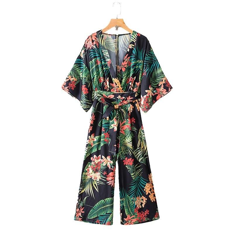 KZ186 Women Summer Tropic Floral Leaves print V Neck Slim Waist Wide leg Jumpersuit Chic Overalls   Jumpsuits   bust 86-94 cm