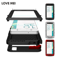 Love Mei Powerful Protective Case For Sony Xperia XA Shockproof Aluminum Metal Case For Sony Xperia