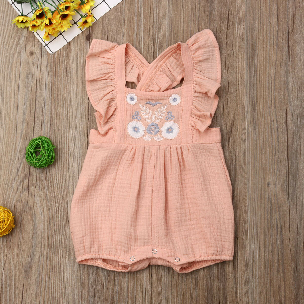 Newborn Baby Girls Ruffle Short   Romper   Cotton   Rompers   Outfits Sunsuit Summer 0-24M