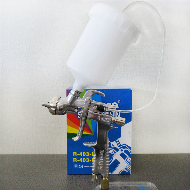 Prona R 403 IP luft spray gun, gravity feed mit kunststoff tasse, luftdruck zu tasse für hohe vicosity malerei materialm, R403 IP - 2