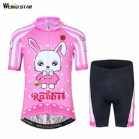 WEIMOSTAR Cycling Jersey kids summer Quick Dry Bike jersey mtb outdoor ropa ciclismo girls pink rabbit children Bicycle Clothing