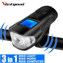 VICTGOAL Bike Light Front LED USB Rechargeable Cycling Flashlight For Bicycle Lights Headlight with Computer Horn Bell