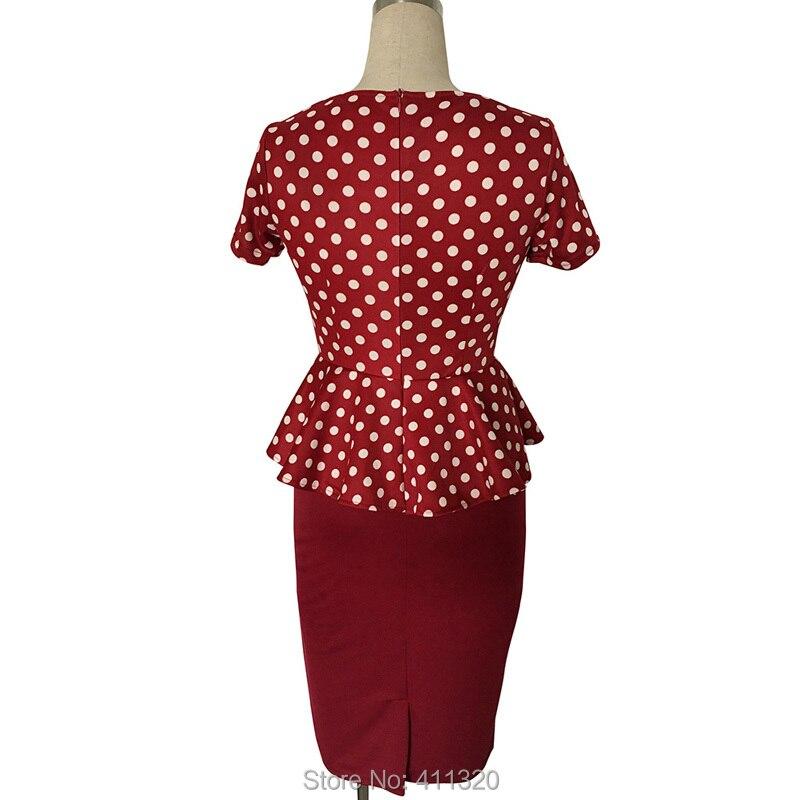 Womens Elegant Vintage Empire Formal Office Dress Polka Dots Patchwork Knee Length Pencil Bodycon Party Dresses Plus Size (6)