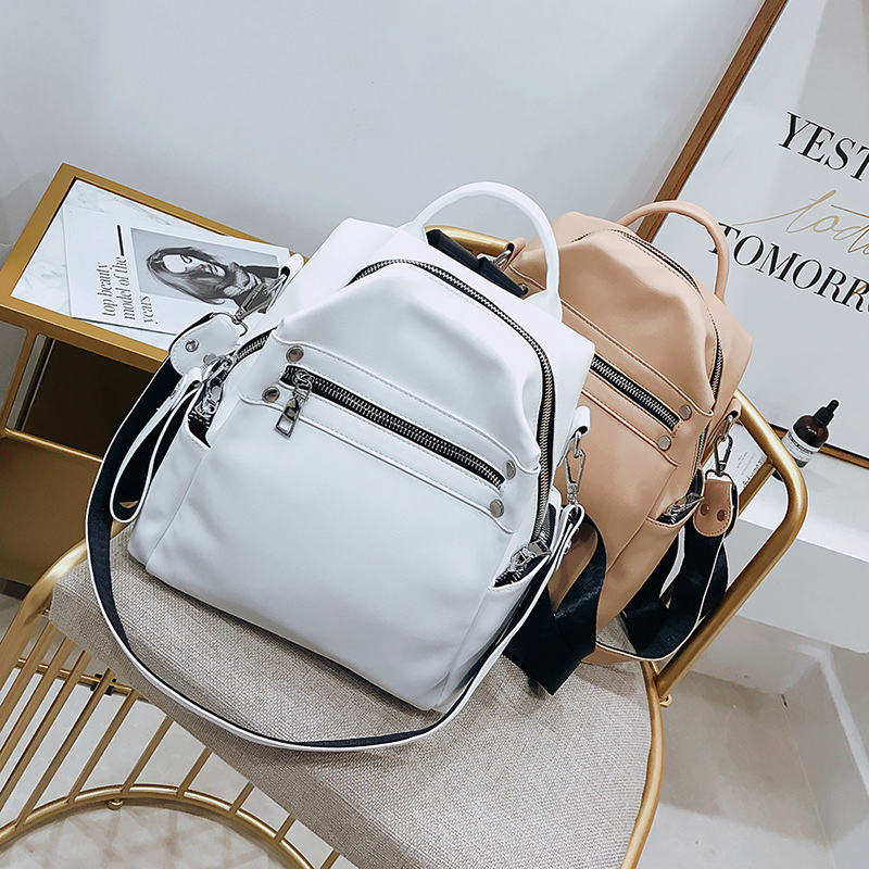 2019 Women Leather Backpacks Fashion Shoulder Bag Female White Backpack Ladies Travel Backpack Mochila School Bags For Girl
