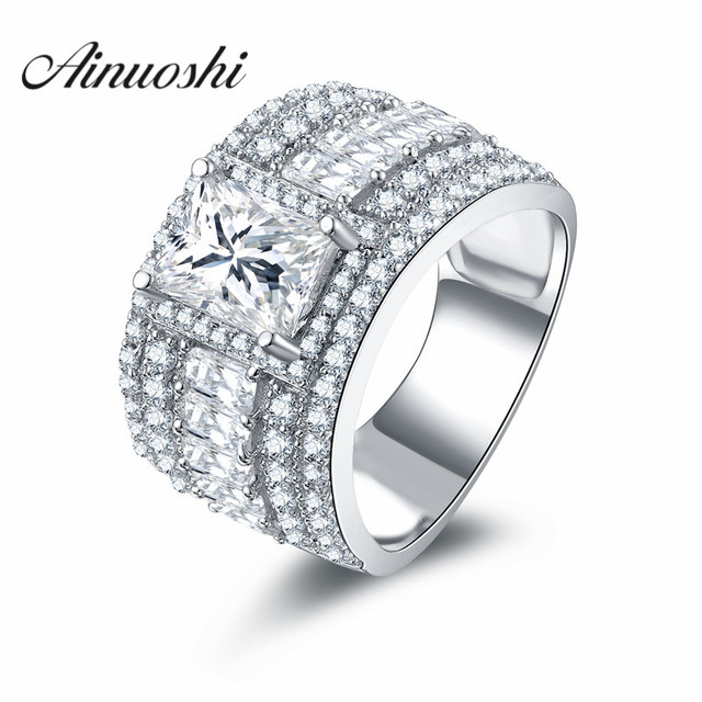 AINOUSHI Real 925 Sterling Silver Rectangle Cut 1.5 ct Ring Triple ...