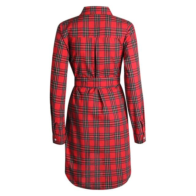 2017 Dress Women Irregular Plaid Shirt Dresses Sexy Long Sleeve Turn Down Collar Office Casual Dress LJ5932C