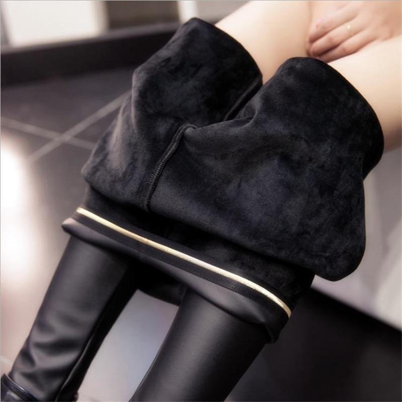 2019 New Women Winter Leather Leggings High Waist Leggins Thick Velet Legging Warm Black Push Up Leggings Jeggings M-3XL CM260