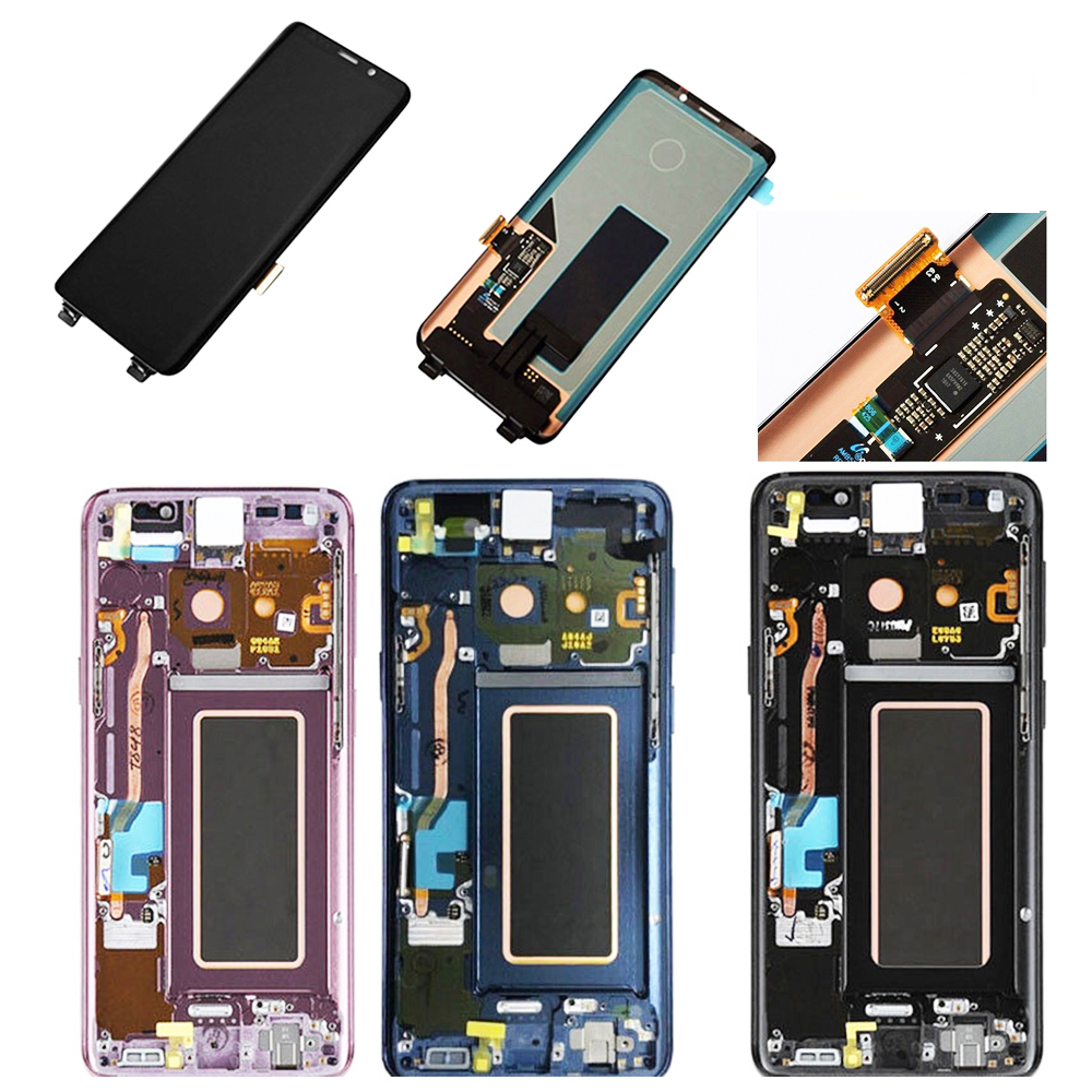 Original Super <font><b>AMOLED</b></font> For <font><b>SAMSUNG</b></font> GALAXY <font><b>S9</b></font> <font><b>S9</b></font> Plus LCD Touch <font><b>Screen</b></font> Digitizer Assembly With Frame For SM-G960 G965 LCD Display image
