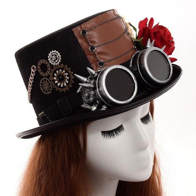 Шляпа в стиле стимпанк с очками в ассортименте вариант 6 4