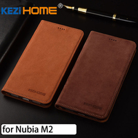 For Zte Nubia M2 Case Flip Matte Genuine Leather Soft TPU Back Cover For Nubia M2