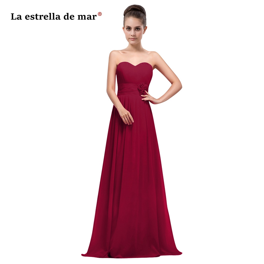 vestido madrinha hot sexy sweetheart chiffon A Line burgundy turquoise pink   bridesmaid     dresses   long plus size wedding guest dres
