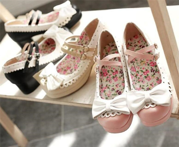 summer retro personality sweet harajuku style bow tie with princess girl lolita shoes cosplay A509