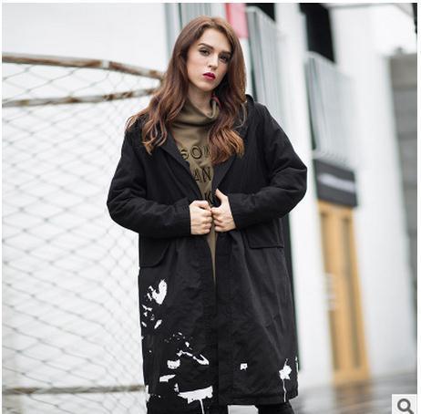 Mulheres Jaqueta de inverno Parka Preta Longa Seção Com Capuz Casacos Feminino Plus Size Ocasional Parkas Outwear Algodão Acolchoado Sobretudos A3