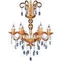 6 свечей Европейский роскошный оранжевый стеклянный подвесной светильник винтажный Хрустальный подвесной светильник лобби люстра освещен...